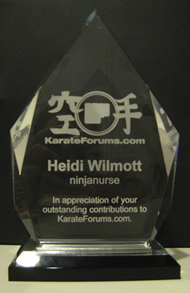 KarateForums.com Award for Heidi