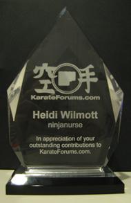 KarateForums.com Award for Heidi