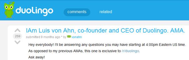 Duolingo Subreddit AMA with Luis von Ahn